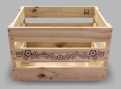 Acheter Wooden crate Willex with flower print
