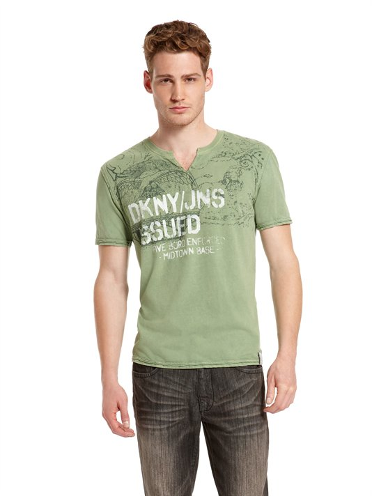 Acheter T-shirt DKNY Jeans Split Neck Graphic