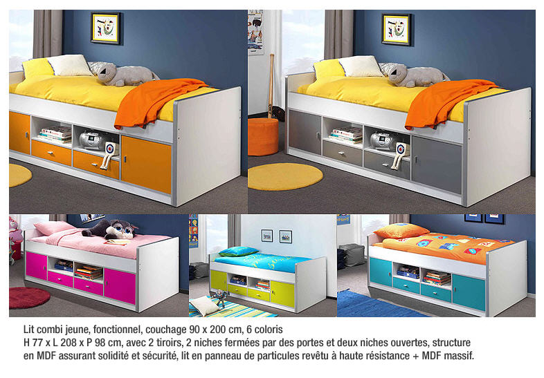 Acheter Lit Bonny - Lit combi jeune, fonctionnel, couchage 90 x 200 cm, 6 coloris