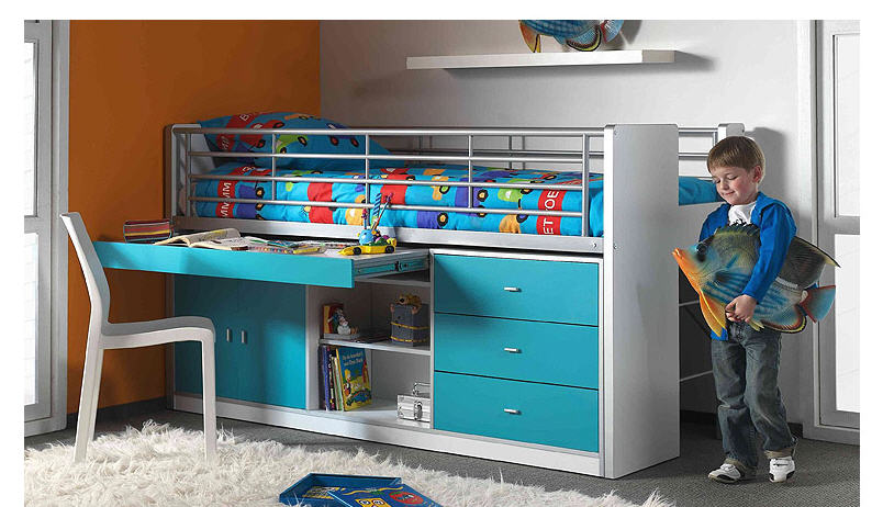 Acheter Lit Bonny - Lit enfant sureleve fonctionnel, L 207 x P 102 x H 115 cm
