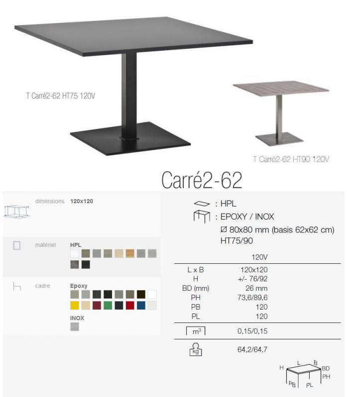 Acheter Table Carre