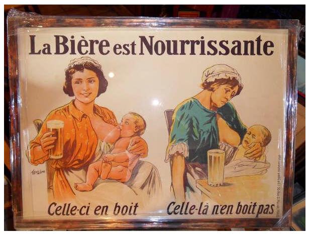Acheter Affiche ancienne de 1900 - La Biere est nourrissante