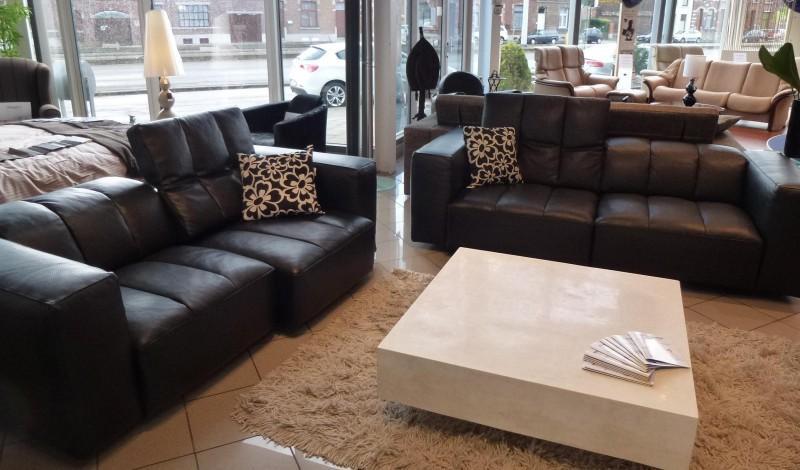 Acheter Superbe Salon 3+2 (cuir pleine fleur noir - assises sur glissières)
