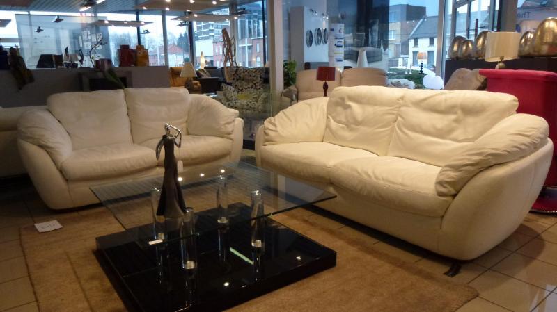 Acheter Salon cuir oleine fleur Bianco : can.3 places + can. 2 places - assises et dos plumes et flocons