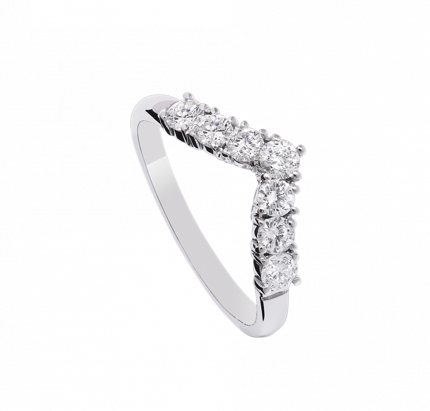 Alliance Lady Diamond Ring en or blanc 18 ct sertie par sept diamants de taille brillant