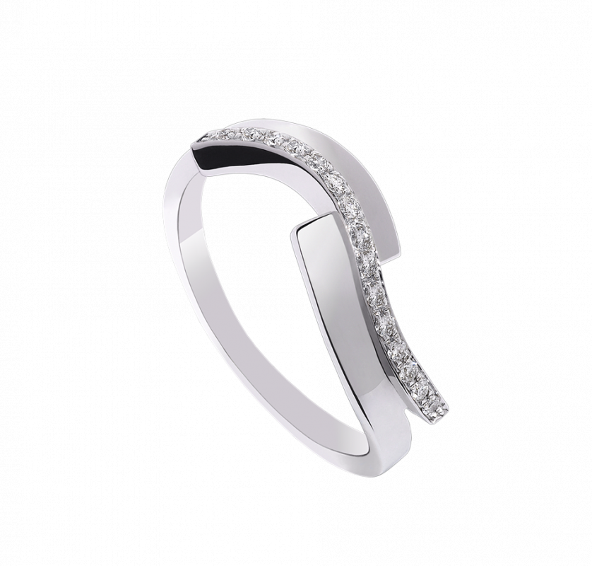 Alliance Lady Diamond Ring torsadee en or blanc 18 ct pavee de diamant brillant