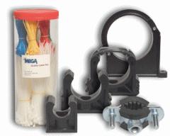 Matériel de fixation.Mega colliers pour tubes PVC
