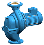 In-line circulating pump with dry, electric motor