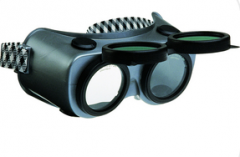 Welding goggles with flip-up glass