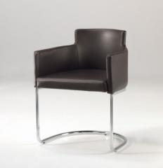Chaise en simili cuir et nickel, code 254