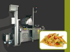 Automatic cooking and cooling line for pasta, rice