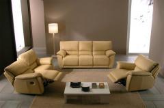 Salon classique en cuir avec relxation