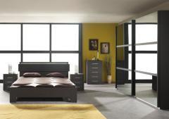 Chambre à coucher contemporaine décor blanc - foncé - chêne