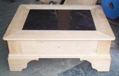 Table basse de salon Louis Philippe, en chêne, avec granit, 1 tiroir