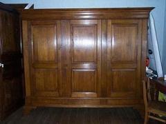 Garde-robe Louis Philippe, en chêne, 3 portes, 3 tiroirs