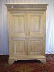 Chiffonnière TV Louis Philippe, en chêne, 4 portes, 1 face de tiroir à rabat