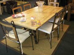 Ensemble table et chaises fer forgé + chêne Honfleur