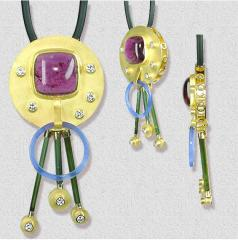 Pendentif Or 24 Cts - 8 diamants 0,80 Cts - 1 rubellite 21,92 Cts - 3 tourmalines - 1 agate
