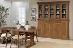 Contemporary furniture. Oak glazed cabinet. Table.