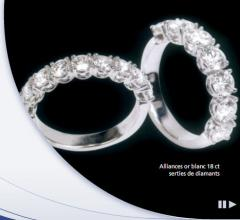 Alliances or blanc 18 ct serties de diamants