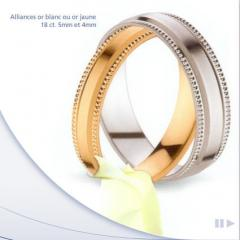 Alliances or blanc ou or jaune 18 ct 5 mm et 4 mm