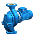 In-line circulating pump of monobloc design