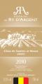 Vin blanc 2010 Domaine du Ry d'Argent